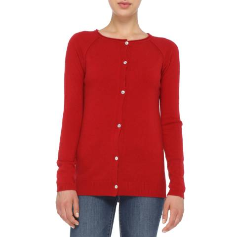 Love Cashmere Red Cashmere Blend Round Neck Cardigan