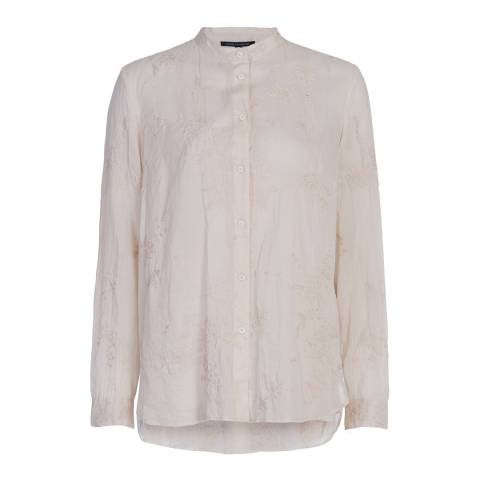 French Connection Cream Jute Prince Cotton Stitch Shirt