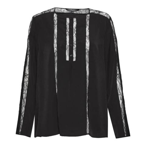 French Connection Black Sky Polly Plains Long Sleeve Tee