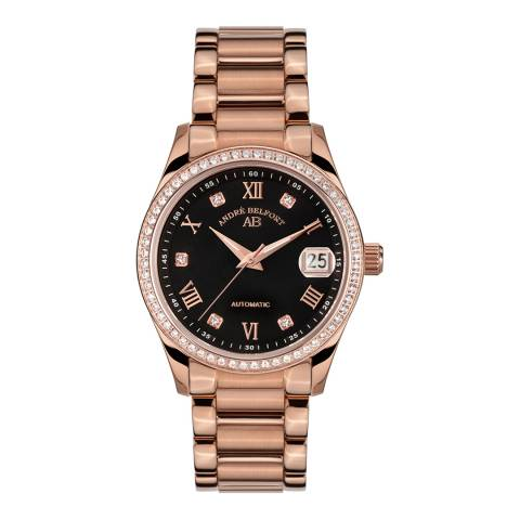 Andre Belfort Women's Rose Gold Diamond Demeter Schwarz Stahl Watch