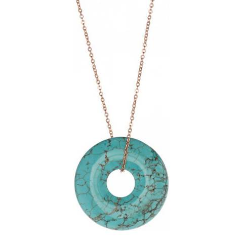 Chloe Collection by Liv Oliver Rose Gold Turquoise Disc Necklace