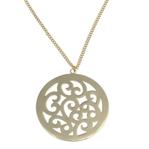Chloe Collection by Liv Oliver Gold Cut Out Disc Necklace