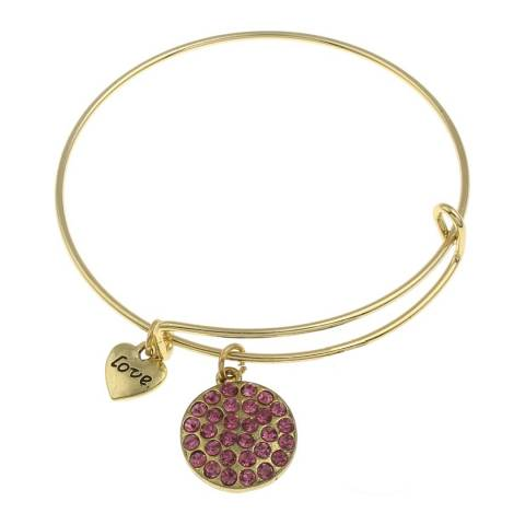 Chloe Collection by Liv Oliver Gold/Pink Love Charm Bracelet