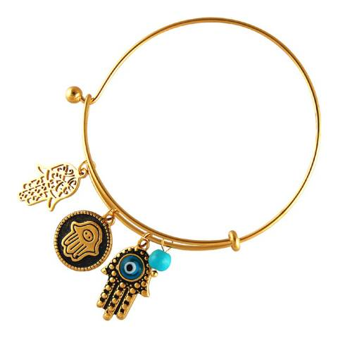 Chloe Collection by Liv Oliver Gold/Turquoise Hamsa Charm Bracelet
