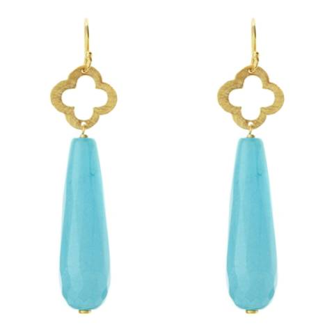 Chloe Collection by Liv Oliver Gold/Turquoise Clover Drop Earrings