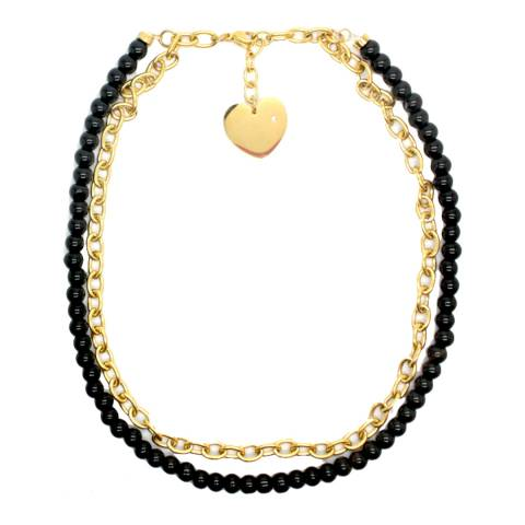 Chloe Collection by Liv Oliver Gold/Black Onyx Double Link Necklace