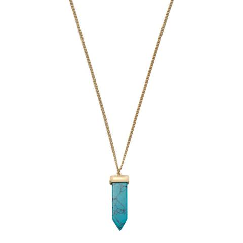 Chloe Collection by Liv Oliver Gold Turquoise Spike Necklace