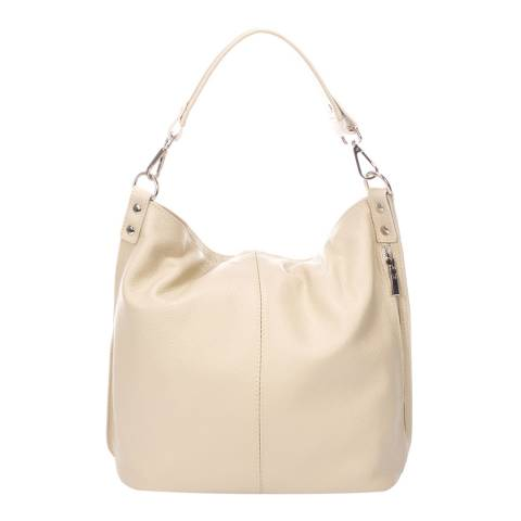 Massimo Castelli Cream Leather Handbag