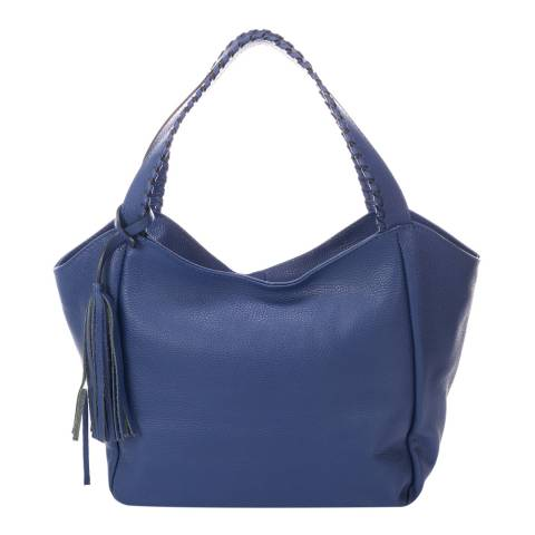 Giulia Massari Blue Leather Shoulder Bag