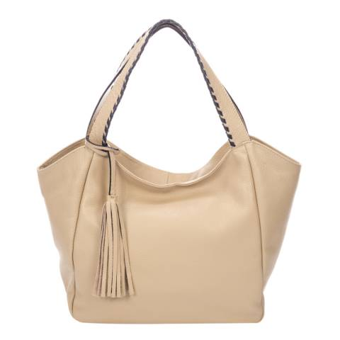 Giulia Massari Beige Leather Shoulder Bag