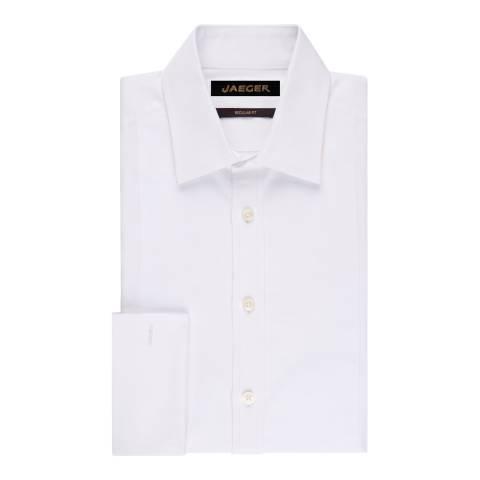 Jaeger White Cotton Regular Fit Dinner Shirt