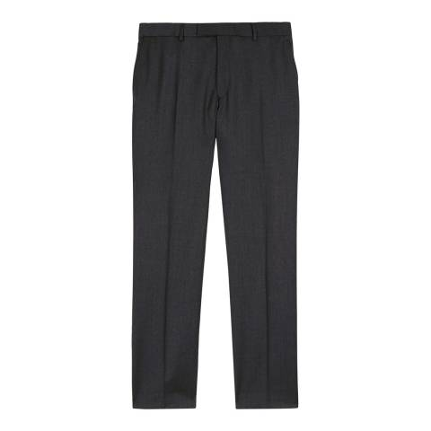 Jaeger Dark Grey Wool Regular Fit Plain Twill Trousers