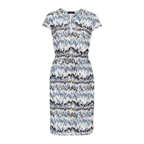 Jaeger Blue Linen Zig Zag Print Dress