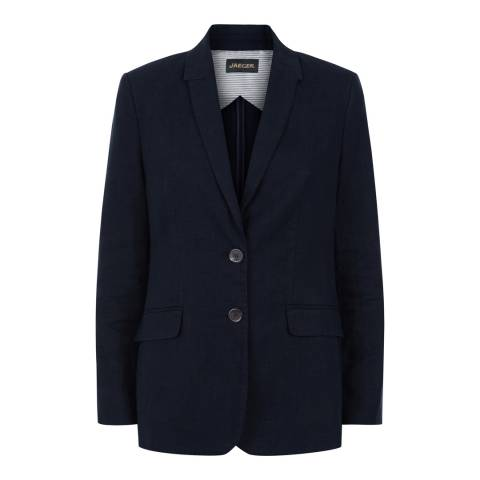 Jaeger Blue Linen Garment Washed Blazer