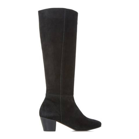 Dune London Black Suede Pull On Tarry Knee High Boots