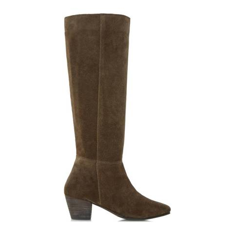 Dune Khaki Suede Pull On Tarry Knee High Boots
