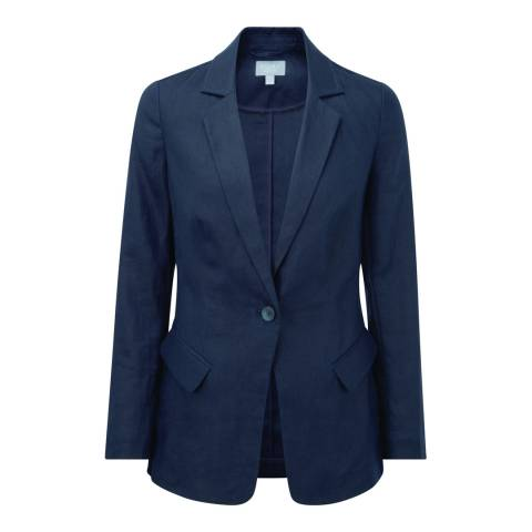 Pure Collection French Navy Longline Linen Jacket