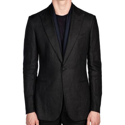 Gieves & Hawkes Black Linen Peak Lapel Dinner Suit Jacket