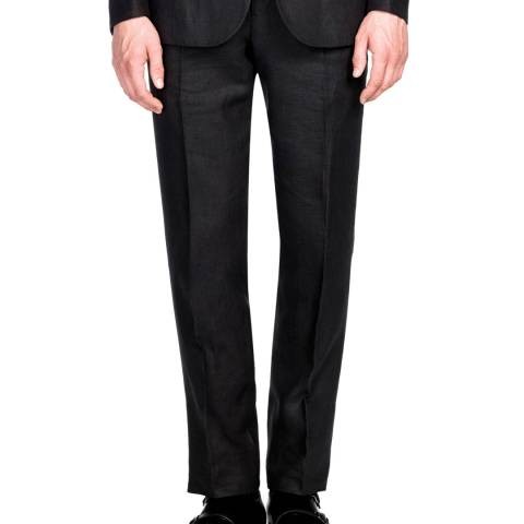 Gieves & Hawkes Black Linen Trousers
