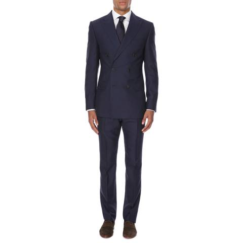 Gieves & Hawkes Navy Wool Double Breasted Two Piece Suit