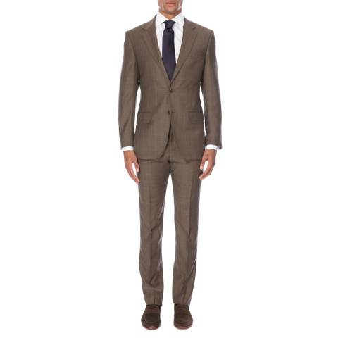 Gieves & Hawkes Dark Taupe Single Breasted Wool Two Piece Suit