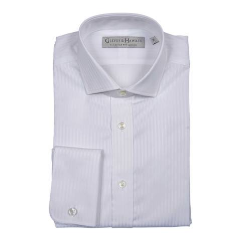 Gieves & Hawkes White Cotton Classic Fit Striped Double Cuff Shirt