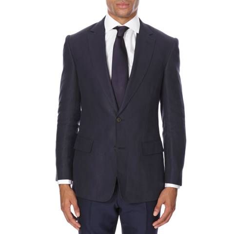 Gieves & Hawkes Navy Linen Suit Jacket