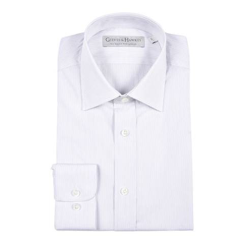 Gieves & Hawkes White Cotton Classic Fit Striped Shirt