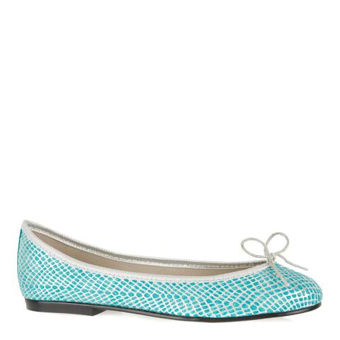 French Sole Turquoise Metallic Snake Leather India Flats