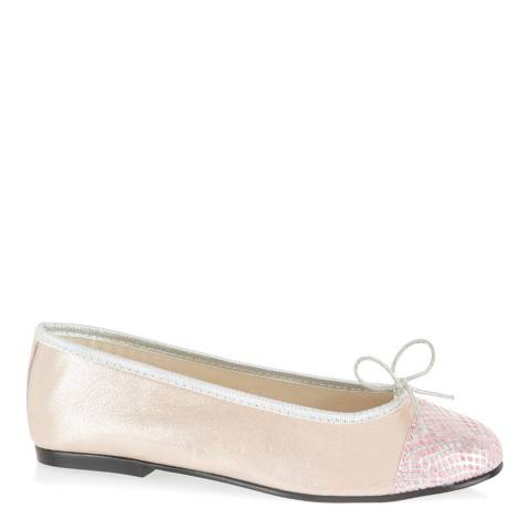 French Sole Pink Metallic Leather Snake Simple Toe Cap Flats