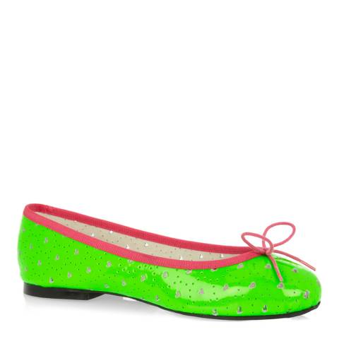 French Sole Green Neon Leather Pink trim Harriet Flats