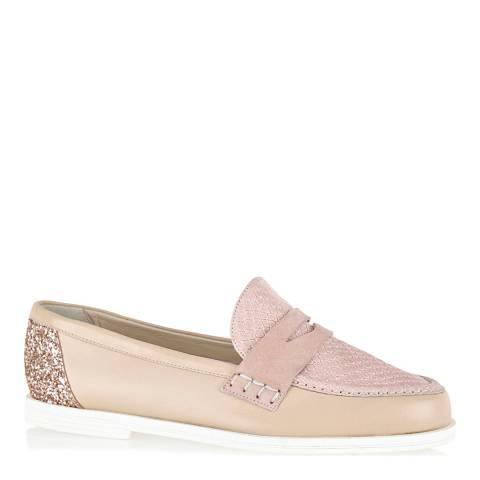 French Sole Nude Leather Pink Glitter Henry Loafers