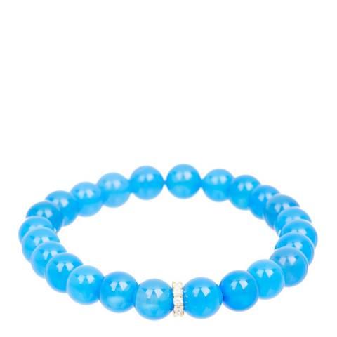 Liv Oliver Gold Plated Sterling Silver Blue Onyx Cz Bracelet