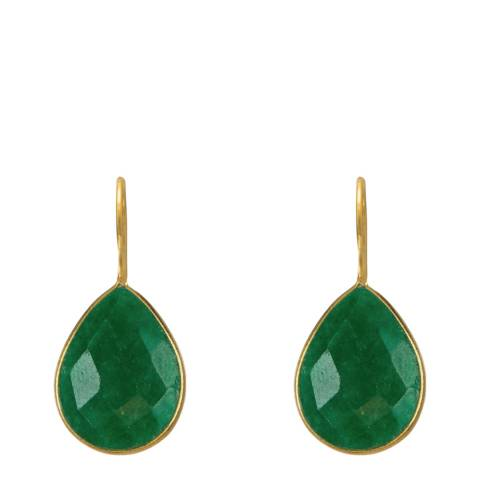 Liv Oliver Gold Plated Emerald Pear Drop Earrings