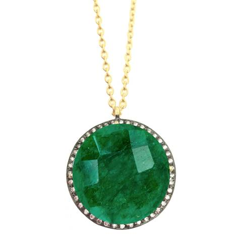Liv Oliver Gold Emerald And Cz Round Disc Pendant Necklace