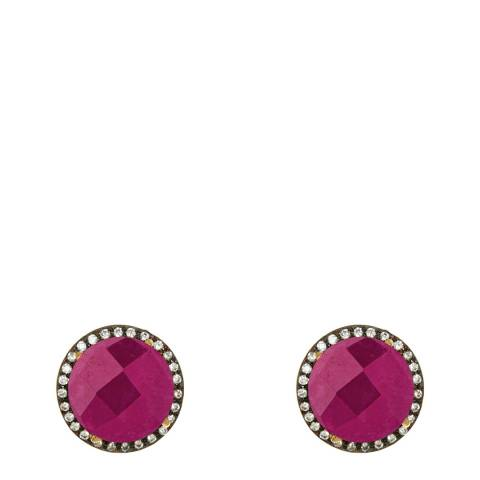 Liv Oliver Gold And Oxidized Ruby And Cz Stud Earrings