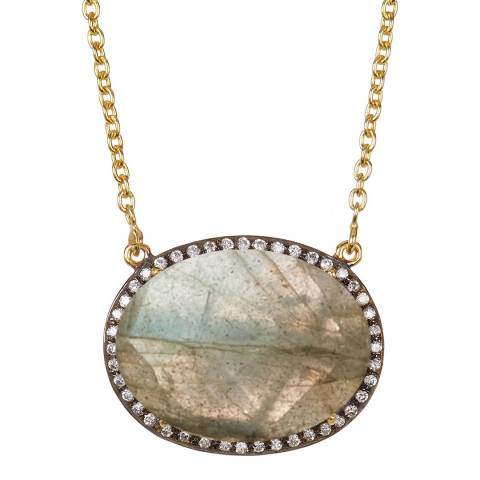 Liv Oliver Gold Labradorite And Cz Oval Necklace