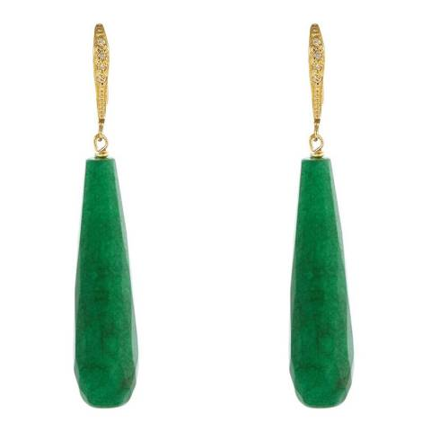 Liv Oliver Jade Pave Drop Earrings