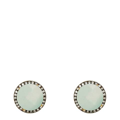 Liv Oliver Gold Sea Green Chalcedony And Cz Disc Earrings