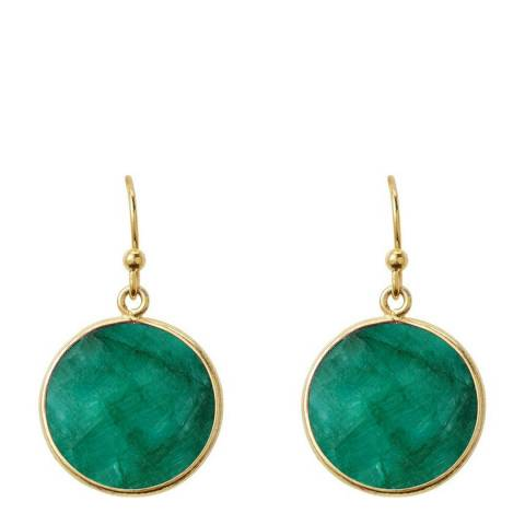 Liv Oliver Gold Emerald Disc Earrings