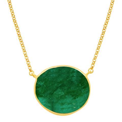 Liv Oliver 18k Emerald Oval Pendant Necklace