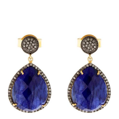 Liv Oliver Gold Sapphire And Cz Pear Drop Earrings