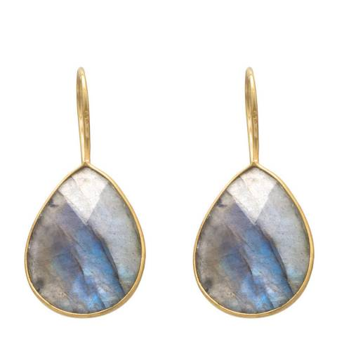 Liv Oliver Gold Labradorite Pear Drop Earrings