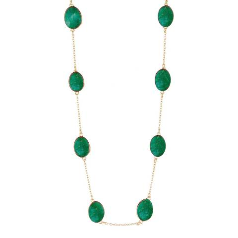 Liv Oliver Gold Emerald Long Necklace