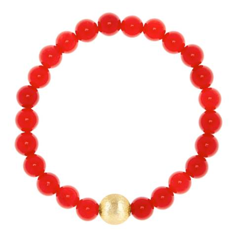 Liv Oliver Matte Gold And Red Jade Bracelet