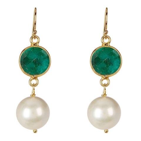 Liv Oliver Gold Emerald and Pearl Drop Earrings