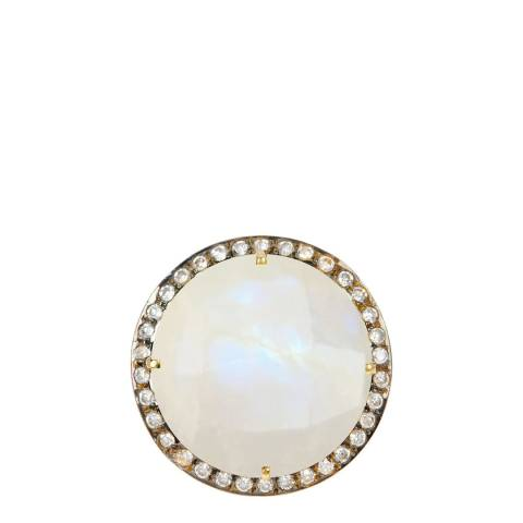 Liv Oliver Gold Moonstone & Cz Statement Ring