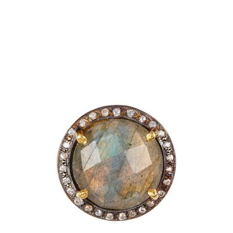 Liv Oliver Gold Labradorite And Cz Statement Ring