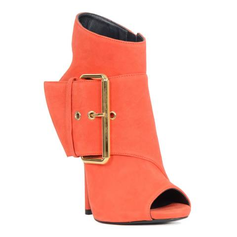 Giuseppe Zanotti Coral Suede Buckle Peep Toe Ankle Boots