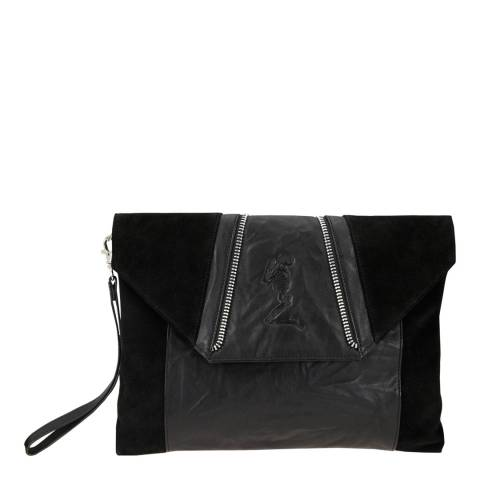 4112ccabc Black Leather/Suede Embossed Clutch Bag - BrandAlley
